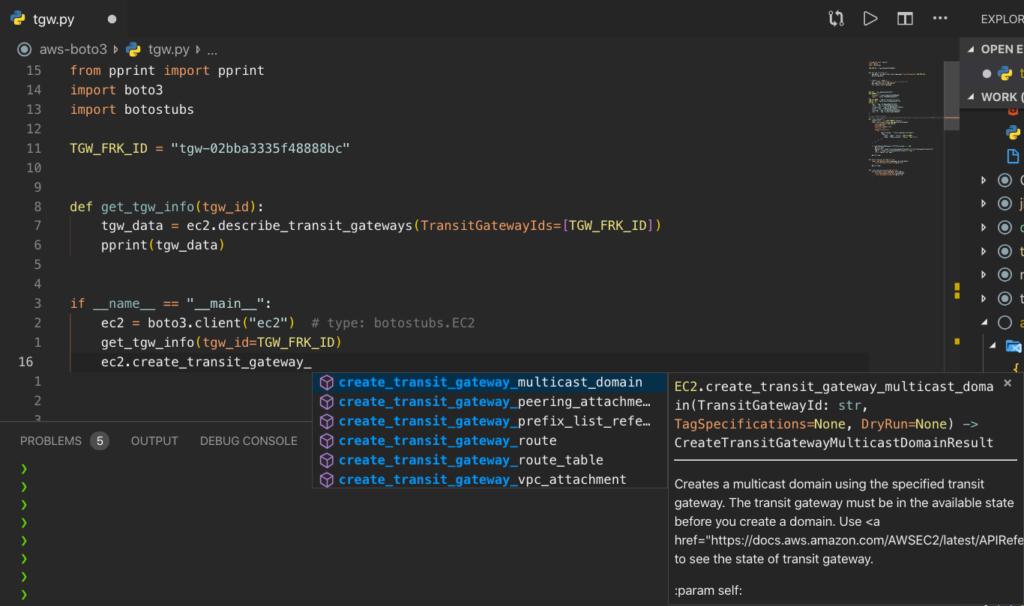 Visual Studio Code - boto3 full